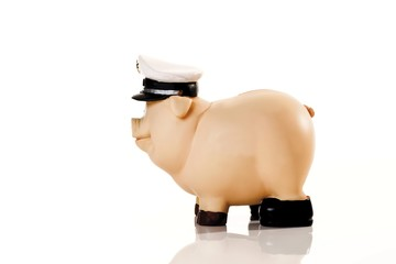 Piggy Bank wearing a police cap