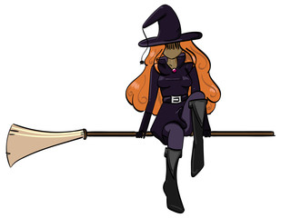 Witch sitting on a floating broom.
