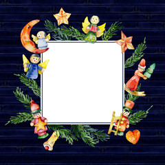 New Year, Christmas, gift card. Festive, happy, children's packaging. Christmas, beautiful, ancient toys, figurines. Coniferous, fir, pine, cedar, forest branches. Winter, delicious, appetizing fruit.