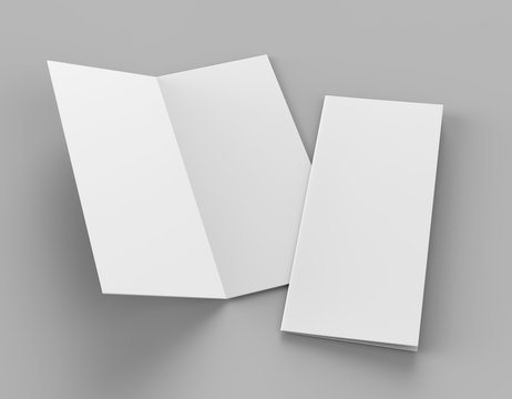 Bi fold or  Vertical half fold brochure mock up isolated on soft gray background. 3D render illustration