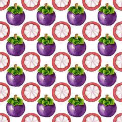 Seamless pattern with tropical exotic fruits. mangosteen slice on white background