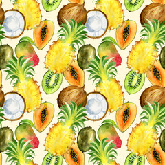 Seamless pattern with tropical exotic fruits. kiwi, mango, pineapple and coconut slice