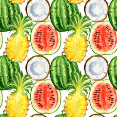 Seamless pattern with tropical exotic fruits. Pineapple, watermelon and coconut slice