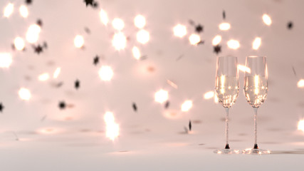 Happy New Year pink background bokeh 2018 3D rendering Decoration background
