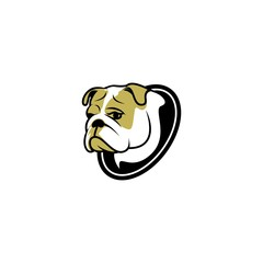 sad dog face vector logo