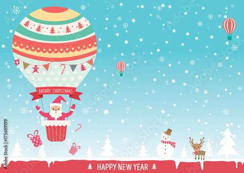 Merry christmas card with santa claus on cute hot air balloon on merry christmas card with santa claus on cute hot air balloon on snow background m4hsunfo