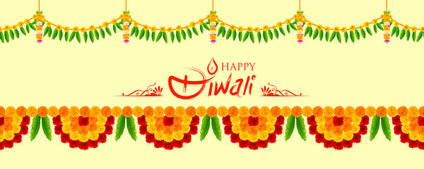 Flower garland decoration toran for Happy Diwali Holiday background