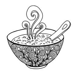 hand drawn doodle of a bowl of soup