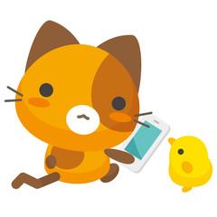 ネコとーく。三毛猫+スマホ