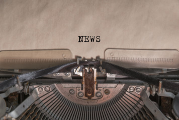 """The words """"News"""" written by an old vintage typewriter"""