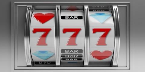 Slot machine with jackpot. 3d illustration