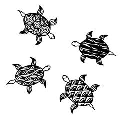 Graphic Hawks-bill sea turtle drawn in line art style. Ocean vector seamless pattern. Coloring book page design for adults and kids, hand drawing