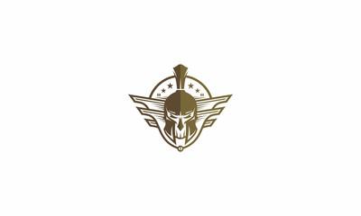 skull warrior emblem symbol icon vector logo