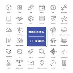 Line icons set. Blockchain