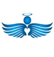 Blue angel silhouette icon vector