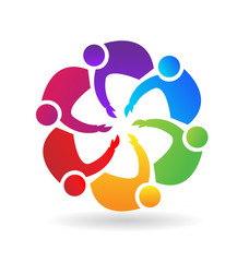 Teamwork people, working together towards goal, icon vector