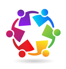 Teamwork people, working with each other to reach their goals, icon vector