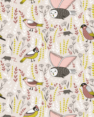 Vector seamless pattern with birs. Cute design for fabric, wrap paper or wallpaper.