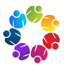 Teamwork business people, information analysis, icon vector