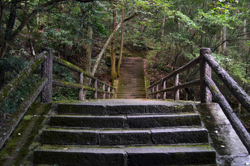 Stairs around the Wulingyuan Scenic Area. A typical hiking trail around the mountain