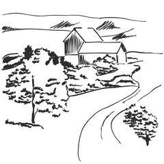 Vector image. Landscape with fields and house among the hills