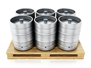 Stack of metal beer kegs standing on wooden pallette. 3D illustration