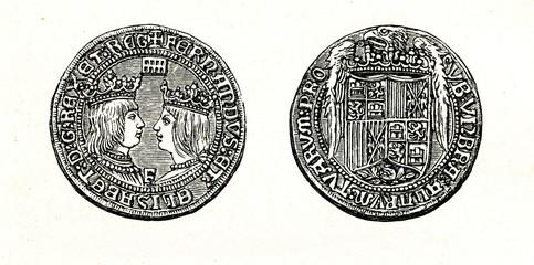 Doubloon of Ferdinand and Isabella (from Spamers Illustrierte Weltgeschichte, 1894, 5[1], 10)