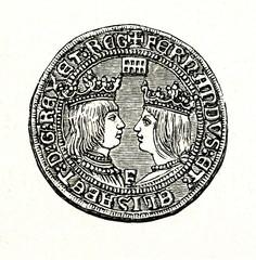 Doubloon of Ferdinand and Isabella - obverse (from Spamers Illustrierte Weltgeschichte, 1894, 5[1], 10)