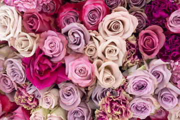 Arrangement of pink, white, lilac  living roses and carnation, top view, flat lay