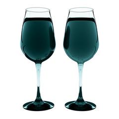 design element. 3D illustration. rendering. black and white lighted wine glass set