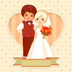 vector wedding cartoon illustration of the groom and bride