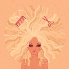 vector illustration of young beautiful girl for a hairdressing salon