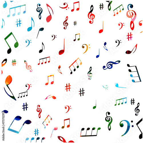 Music Symbols Seamless Background Design Isolated Colorful Music