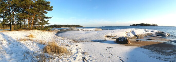 Seaside winter panorama from Finland