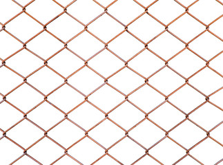 Old dirty and rusty chain link fencing mesh isolate on white background. A fence type of woven fence usually made from metal ,galvanized or LLDPE-coated. Used for temporary fences. - Selective focus