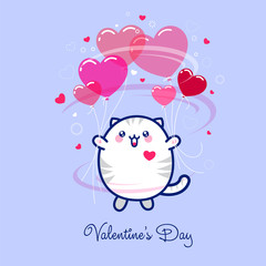 Kawaii cute cat with balloons as hearts on a pink background with stars and small hearts.