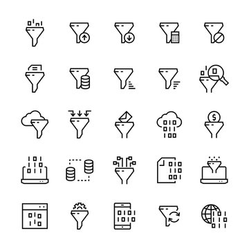 Filter data vector icon set in line style.