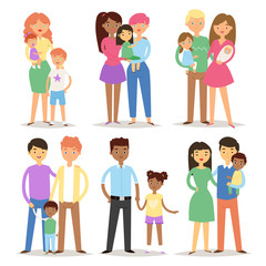 Happy different family couples characters mother father baby multinational people together vector illustration.