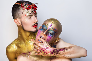 two people art make up