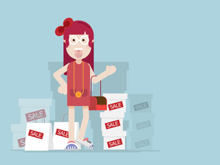 girl with shopping bag and box with sale label