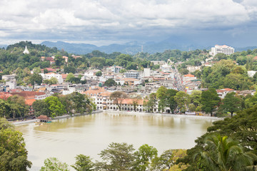 Aerial view onto Kandy, Sri Lanka, Asia