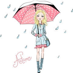 Vector beautiful fashion girl in autumn clothes, boots, coat and skirt with bag and red umbrella