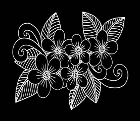Doodle floral pattern in black and white. Page for coloring book: very interesting and relaxing job for children and adults. Zentangle drawing. Flower carpet in magic garden