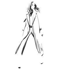 Beautiful young girl model for design. Fashion, style, beauty .Graphic, sketch drawing.