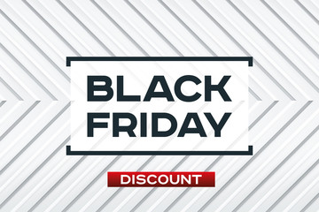 Black Friday Sale. Light background. Realistic embossing texture, corner strips, white geometric pattern. Red accent. Vector design form for you business projects