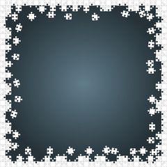 Frame White Puzzles Pieces Grey - Vector Jigsaw
