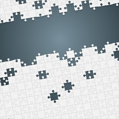 Some White Puzzles Pieces Grey - Vector Jigsaw