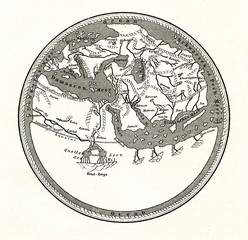 World map by Muhammad al-Idrisi, 1154 (from Spamers Illustrierte Weltgeschichte, 1894, 5[1], 33)