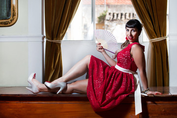 Pinup girl with red dress