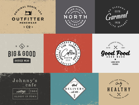 Different vintage logo templates with different colored backgrounds.